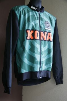 Vintage Kona Mountain Bike Cycling Jacket Sugoi Large L Green Lined Reflective  SOLD