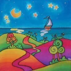 Arte de pintura en seda My Silky Way: cuadros modernos e infantiles, cuadros alegres y coloridos pintados a mano