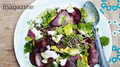 Puy lentil, goats' cheese and beetroot salad