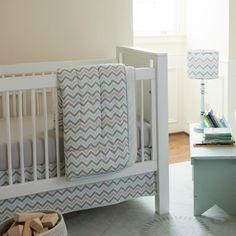 Mist and gray chevron crib bedding by Carousel Designs. #chevron #bedding
