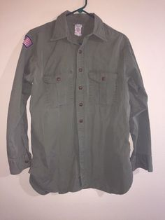 Official Boy Scouts Of America Vintage Olive Green Long Sleeve Shirt BSA Mens L