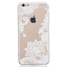 Coque en TPU Transparente avec motif de Fleurs Blanches pour iPhone 6/6S