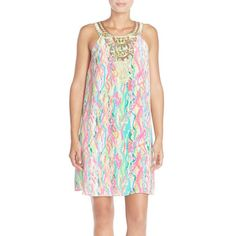 Lilly Pulitzer 'Cadence' Embroidered Print Silk A-Line Dress ($268) ❤ liked on Polyvore featuring dresses, multi dripping in jewels, rainbow dress, silk print dress, lilly pulitzer, back zipper dress and a line dress