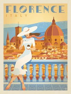 Vintage Italy travel poster of a woman enjoying gelato in Florence. Did you know Gelato dates back to the century. Most credit Bernardo Buontalenti, a Florence native with creating the treat for a royal banquet. Posters Decor, Art Deco Posters, Room Posters, Poster Prints, Poster Poster, Vintage Travel Posters, Vintage Postcards, Vintage Travel Decor, Vintage Italian Posters