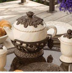 GG Collection Acanthus 40oz Cream Teapot With Brown Metal Base SHOP www.crownjewel.design