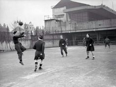 The Arsenal team playing a game of head tennis 1952
