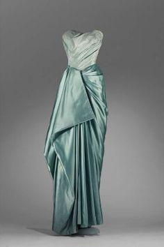 Charles James, Silk satin and plain weave (taffeta) evening dress, 1950.