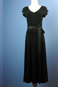 MODA INTERNATIONAL [D46] VICTORIA'S SECRET Black Dress Ribbon Belt Twirly Dress #VictoriasSecret #LittleBlackDress