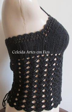 Celeida Ribeiro: Croppeds Top de crochê! Crochet Skirts, Diy Crochet, Crochet Clothes, Crochet Bikini, Crochet Top, Crochet Jacket, Bustier Top, Elizabeth Taylor, Diy And Crafts