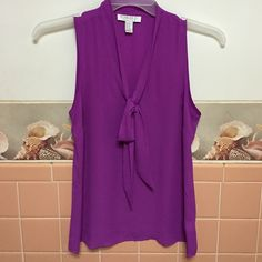 Purple sleeves tie front blouse Gorgeous tank! Purple! Tie front! Worn once time! Forever 21 Tops Blouses