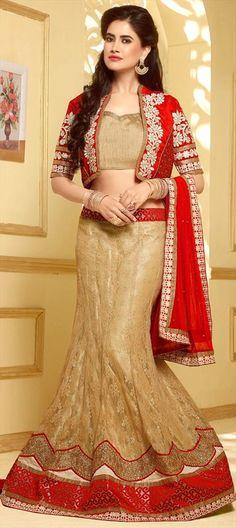 FISH-CUT BRIDAL WEAR. Like it? Order at flat 15% off.  #Beige #IndianWedding #lehenga #Brides #OnlineShopping #lace