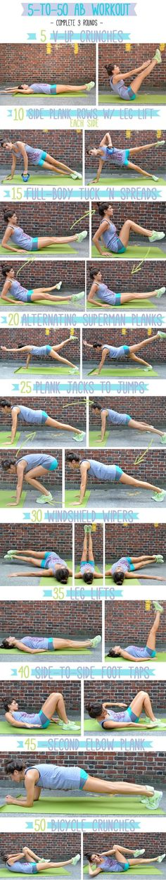 The 5 to 50 Ab Workout. Feel the burn and love the results! Pin now, check later.