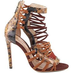 34662a8de3a7 Schutz Ermmana Old Yellow Snake Print Strappy Gladiator Stiletto Sandal  Heels. This is just cool on so many levels.