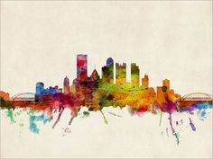Pittsburgh Skyline Pennsylvania Art Print 12x16 up to by artPause