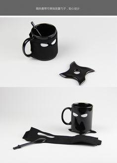 创意马克杯_创意忍者马克杯含杯垫搅拌勺咖啡杯可拆卸隔热0.57 - 阿里巴巴