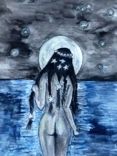 La Pincoya, personaje mitológico de la isla de Chiloe, Chile. Acuarela sobre papel, Karin Mengers, 2012