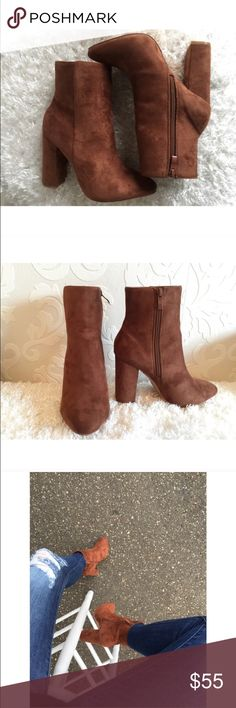Suede camel booties Boutique brand • reposhed from Franki's closet • never used • priced a little higher than what I bought for because of the 20% that posh takes and even then I'm not making what I paid • photos 1-3 are from Franki's closet boutique  Shoes Ankle Boots & Booties