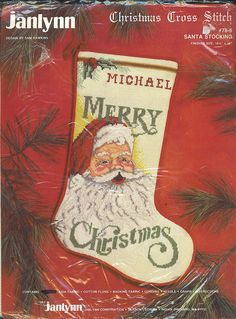 Christmas Santa Stocking CrossStitch Kit by Janlynn Design by Sam Hawkins - Free Priority Shipping