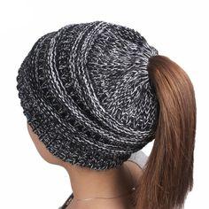 1bdeb197c07aa Beanie Tail Womens Knit Messy High Bun Ponytail Beanie Solid Ribbed Hat Cap  - Black - C11885GLCHZ