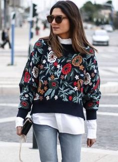 Round Neckline Floral Loose Regular Appliques Shift Sweaters (1284816) Appliques, Latest Fashion Trends, Shopping Bag, Christmas Sweaters, Neckline, Lady, Coat, Floral, Clothes