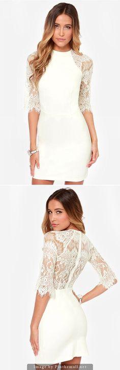 Lace Back Half Sleeved Mock Neck Bodycon Dress