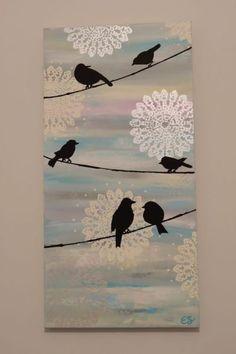 Conheça Lace Art: a arte com renda – Stencils pinturas – Bilder Doily Art, Lace Art, Diy Canvas Art, Diy Wall Art, Painting Canvas, Diy Painting, Bird Canvas, Canvas Ideas, Painting Shiplap