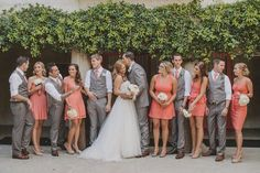 Grey and light peach wedding party