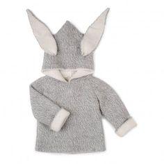Burnou Baby Alpaga Lapin Gris chiné  Oeuf NYC