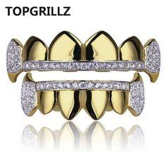 TOPGRILLZ Gold Hip Hop Teeth Grillz Micro Pave Cubic Zircon Top&Bottom Vampire Fangs Teeth Grills Set Holleween Gift Men Women
