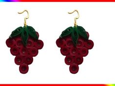 How to make paper quilling -strawberry earrings(red and green) How To Make Curtains, Irish Lace, Paper Quilling, How To Make Paper, White Flowers, Strawberry, Drop Earrings, Crafty, Cool Stuff