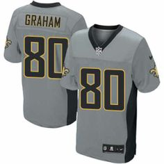 Elite Men's Nike New Orleans Saints #80 Jimmy Graham Shadow Grey NFL Jersey  $129.99
