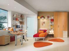 Happy Single Sunny Orange Red Kids Bedroom Design