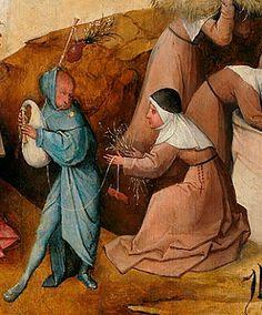EL CARRO DEL HENO (1516 detalle) El Bosco: Nada se sabe de la primera formación artística, pero puede suponerse que aprendió en el taller familiar dedicado a la pintura al fresco, a dorar esculturas de madera y a la producción de objetos sagrados, trabajando especialmente para la catedral de la ciudad. Su obra presenta influencias de pintores de la escuela alemana: (Martin Schongauer, Matthias Grünewald) y Alberto Durero. Muerto su padre en 1478, los dos hermanos continuaron con el negocio…