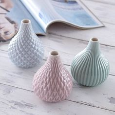 set of 3 pastel vases