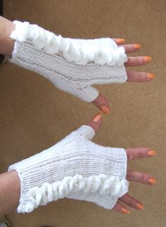 White Handknitted Fingerless Mittens Women Mittens by evefashion, $22.00