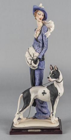 Giuseppe Armani figure of a woman and dog, limite