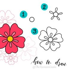 A quick, simple and easy doodle how-to for a flower # # – Zeichnung , Kritzeleien und mehr Easy Flower Drawings, Flower Drawing Tutorials, Easy Drawings, Drawing Flowers, Note Doodles, Simple Doodles, Doodle Drawings, Doodle Art, Planner Doodles