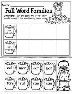 Cut And Paste Word Family Cocoa Cups Kindergarten Home School Kindergarten Language Arts, Kindergarten Literacy, Printable Preschool Worksheets, Vowel Worksheets, Free Preschool, Free Printables, Fall Words, Word Sorts, Rhyming Words