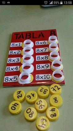 Interactive multiplication math Could change to be more difficult, addition, division, or subtraction. This is a fun way to help with multiplication. This is a and concrete lesson. Math Games, Preschool Activities, Student Games, Counting Activities, Word Games, Math For Kids, Crafts For Kids, Fun Math, Easy Math