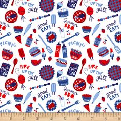 Patriotic Parade Tossed Picnic Foods White from Designed by Amanda McGee for Studio E Fabrics, this cotton print fabric is perfect for quilting, apparel and home decor accents. Windham Fabrics, Picnic Foods, Name Design, White Fabrics, Home Decor Items, Decorative Items, Accent Decor, Fabric Design, Printing On Fabric