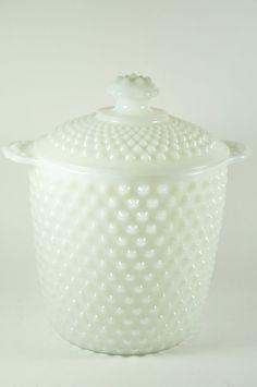 Vintage Large Hob Nob Milk Glass Canister or Cookie Jar