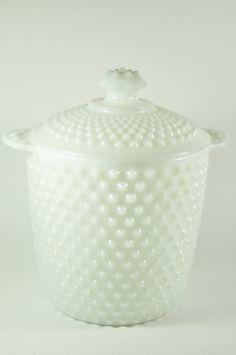 Vintage Large Hob Nob Milk Glass Canister or Cookie Jar