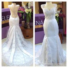Vestido de novia diseñado para Diana Romero Ulloa, para una novia elegante y moderna, con escote y bordado realizado a mano en la espalda.