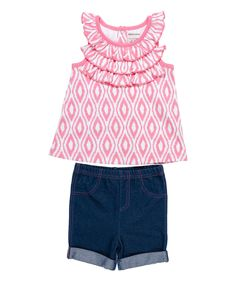 Another great find on #zulily! Kyle & Deena Pink Ikat Ruffle Angel-Sleeve Top & Shorts - Infant by Kyle & Deena #zulilyfinds