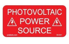 """50 Labels of PHOTOVOLTAIC Power Source Solar Label 2"""" X 1"""" - Global Solar Supply Renewable Energy, Solar Energy, Solar Equipment, Solar Power System, Puerto Rico, Grid, Safety, Alternative, Label"""