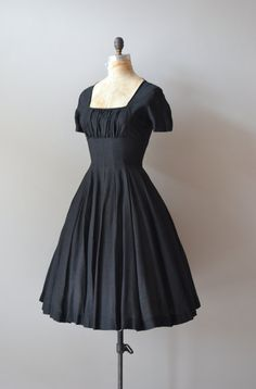 Hidden Heart silk dress / vintage 50s dress / black by DearGolden