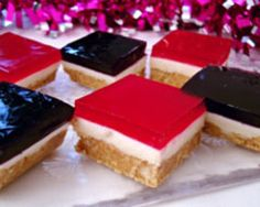 This jelly slice recipe is a Christmas treat that is fun to make with children. Kids will love the biscuit base, creamy filling and jelly topping. Find more on Kidspot New Zealand's recipe finder Christmas Treats To Make, Christmas Recipes, Christmas Christmas, Christmas Cooking, Christmas Goodies, Jelly Slice, No Bake Slices, Peppermint Crisp, Buttery Biscuits