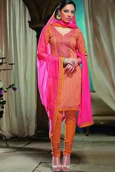 cotton orange salwar kameez
