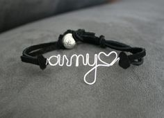 Customizable Military Bracelet Leather Band by MilitaryHeartTees Military Girlfriend, Army Mom, Military Love, Army Life, Army Sister, Military Soldier, Usmc, Marines, Leather Cord