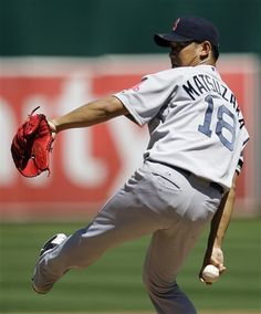 Boston Red Sox's Daisuke Matsuzaka, of Japan, works against the Oakland Athletics in the first inning of a baseball game, Sunday, Sept. 2, 2012, in Oakland, Calif. (AP Photo/Ben Margot)